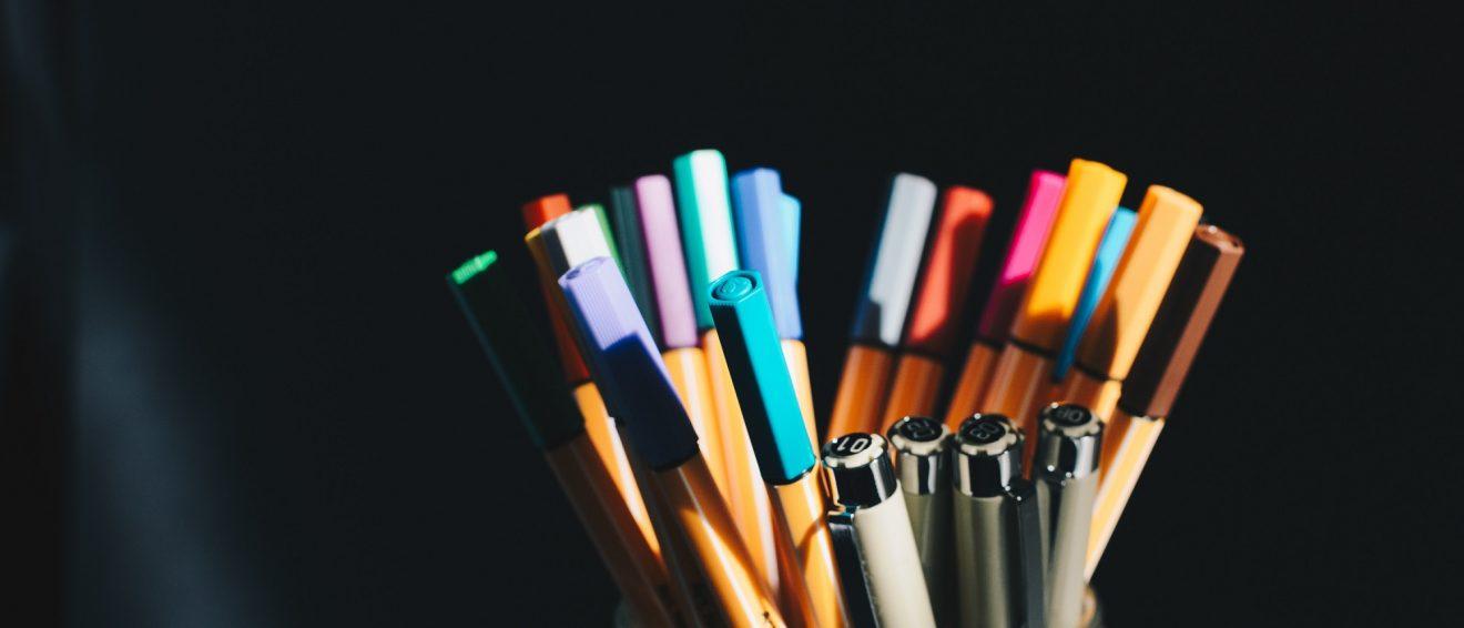 copywriting pot of pens