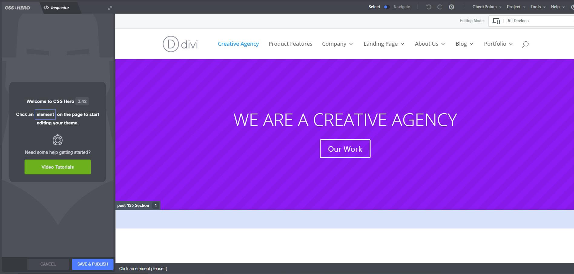screenshot of ccs hero on website before plugin