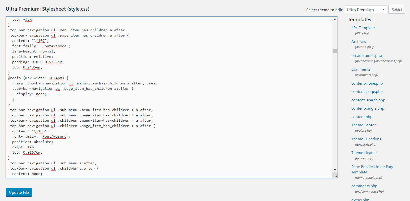 screenshot of wordpress stylesheet