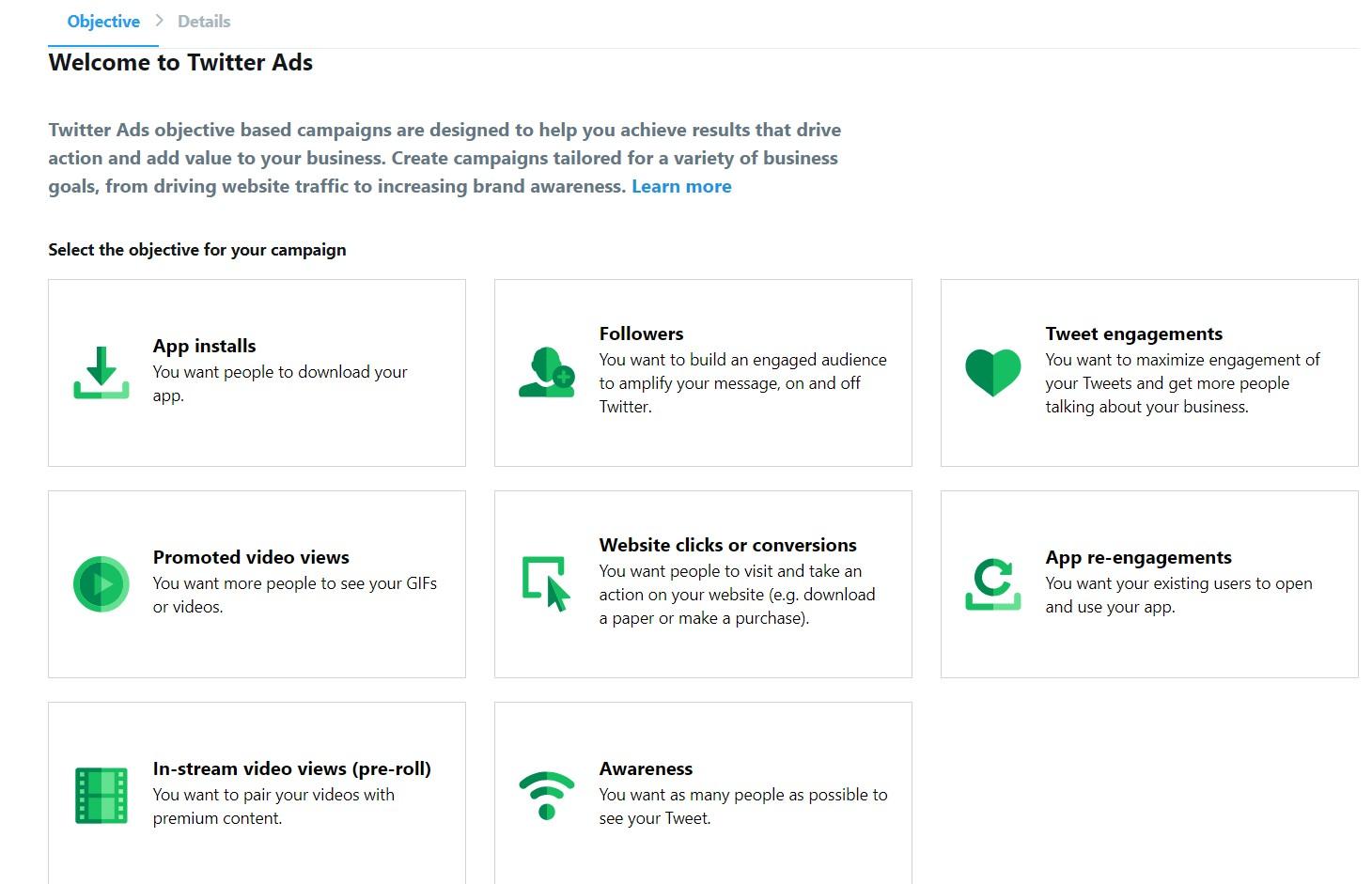 Twitter Ads objectives screenshot