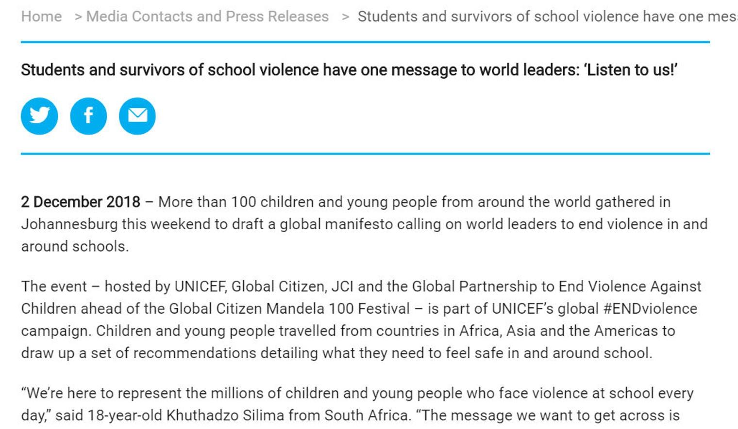 UNICEF press release
