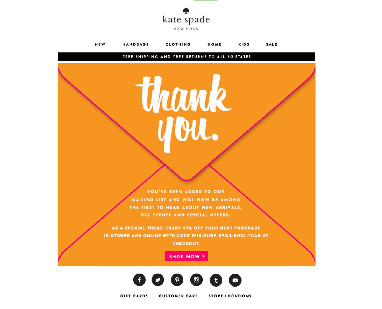 Welcome email from Kate Spade