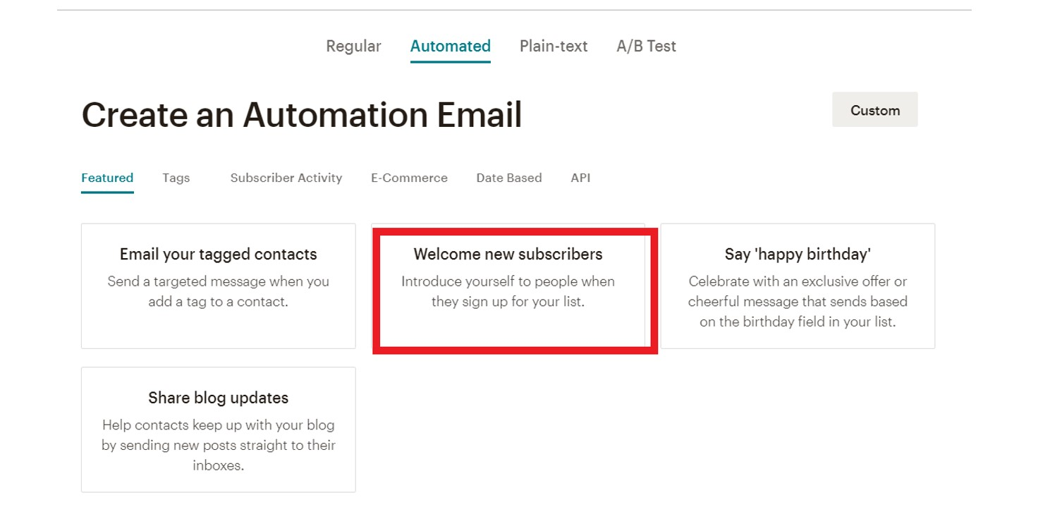 Mailchimp create automation email