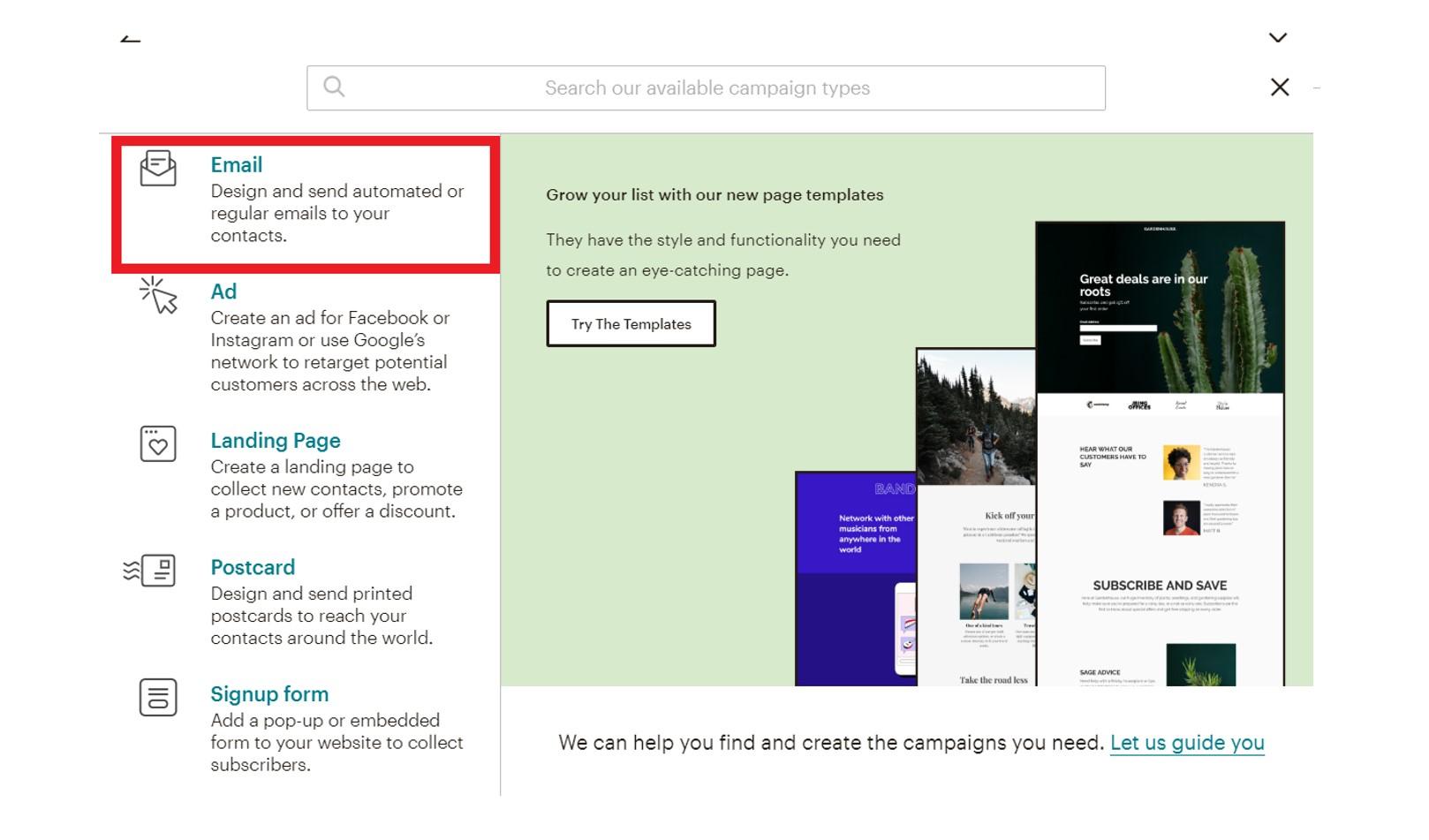 Mailchimp welcome email setup