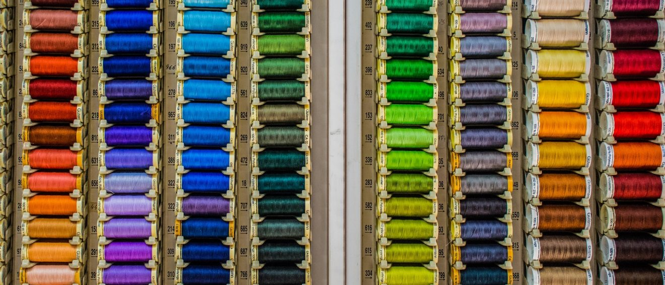 rows of brightly coloured thread