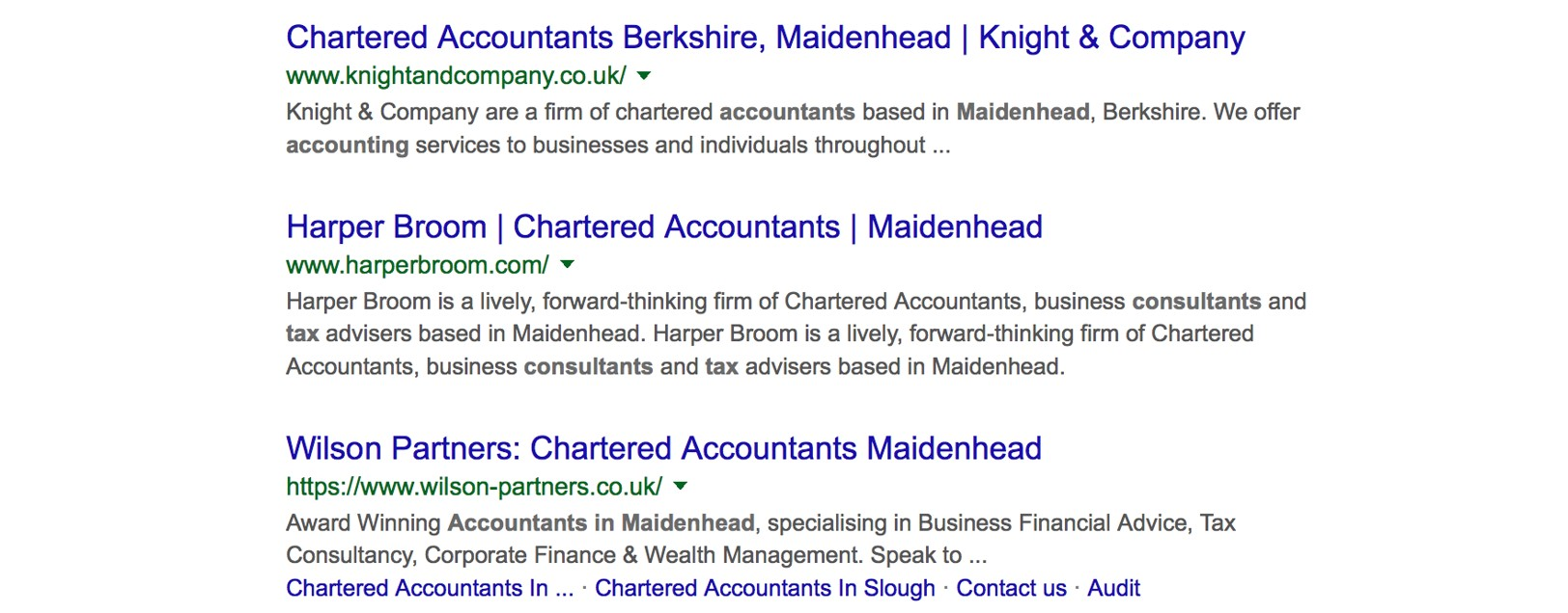 Google search results for accountant maidenhead keyword