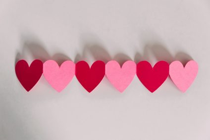 line of paper hearts
