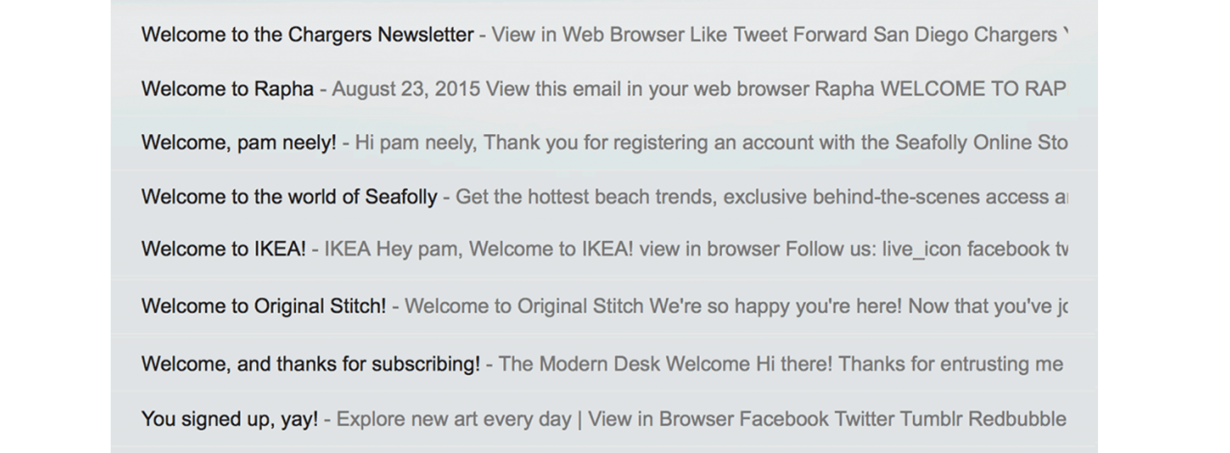 list of example subject lines for welcome emails