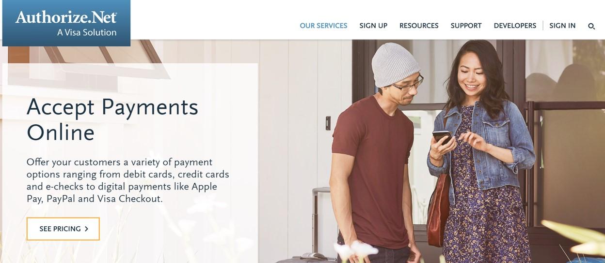 Screenshot of Authorize.net website