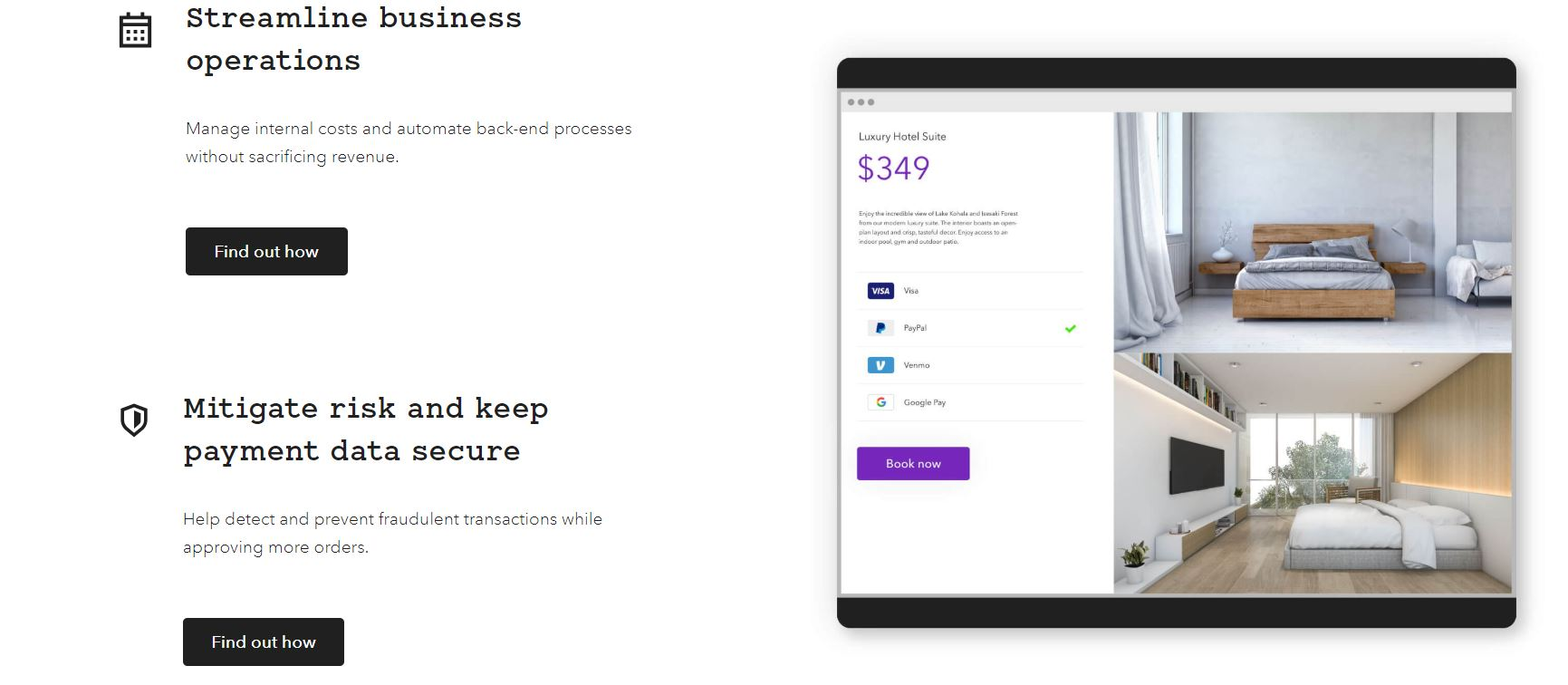 Screenshot of Braintree website