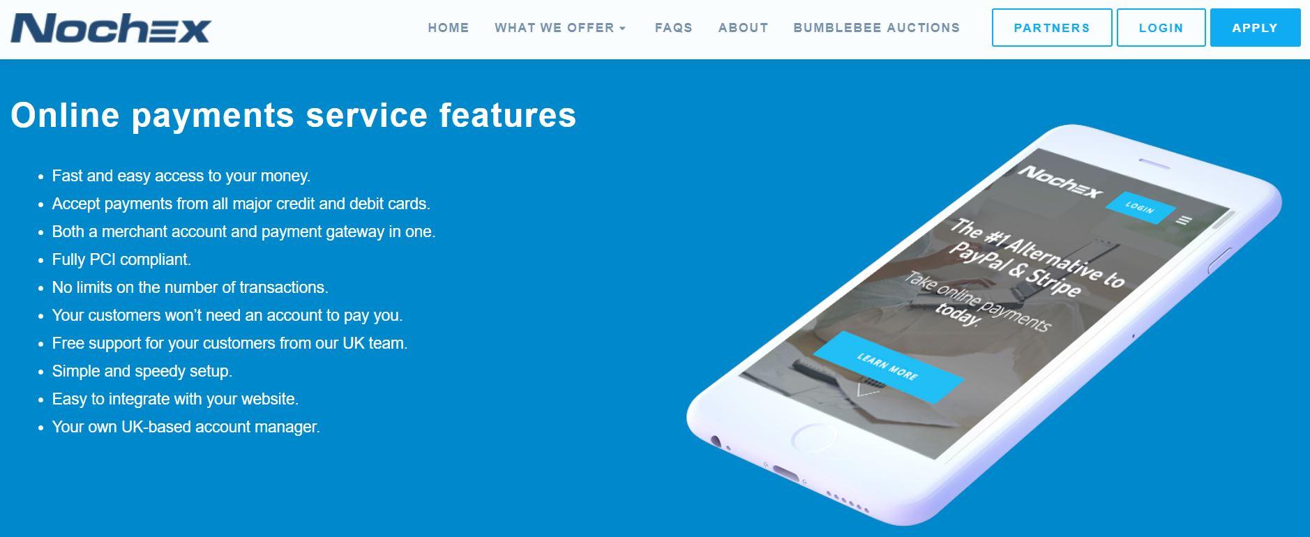 Screenshot of Nochex website