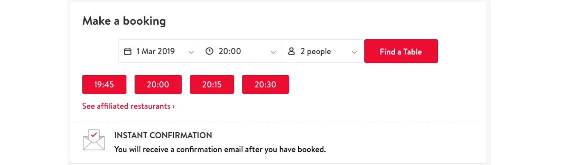 OpenTable online booking