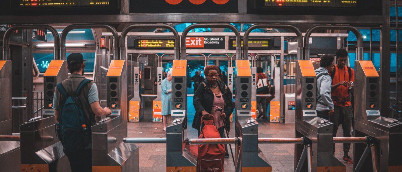 Train station turnstiles