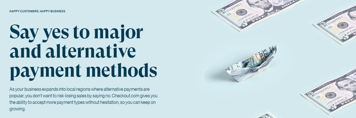 Screenshot of checkout.com website