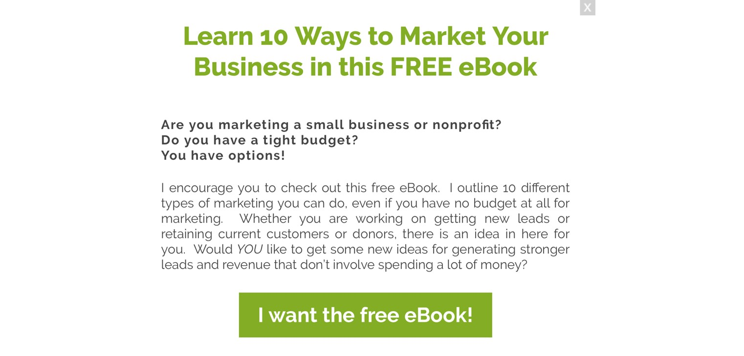 free eBook popup