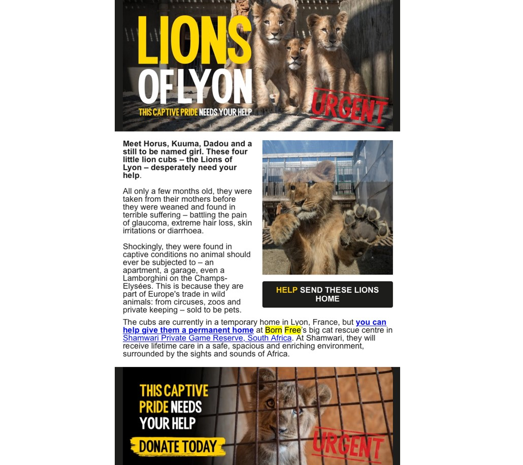 born free donation email