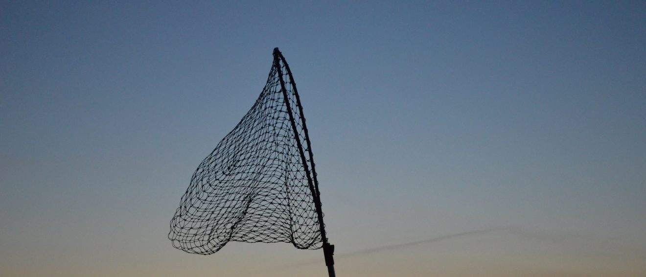fishing net against dusk sky