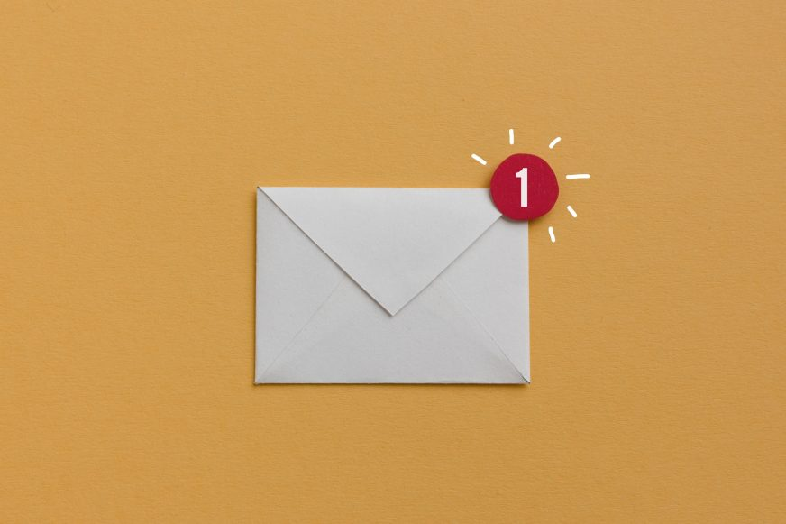 envelope on coloured background